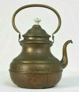 19th Century Antique Copper Teapot Tea Kettle Hand Made Decorated Spout