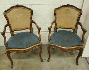 Antique Louis Xv French Provincial Cane Armchair Accent Chair Pair Side Chairs