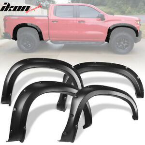 Fits 19 20 Chevy Silverado 1500 Pocket Style Fender Flares Smooth Black 4pc Pp