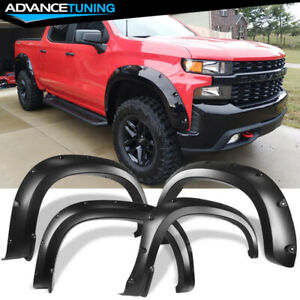 Fits 19 20 Chevy Silverado 1500 Pocket Style Fender Flares Smooth Black 4pc Set