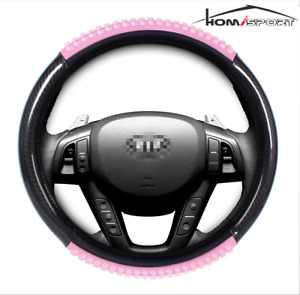 Car Steering Wheel Cover 15 38cm Pu Leater W Pink Cool Gel Grip Universal Fit