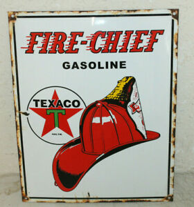 Texaco Fire Chief Vintage Style Porcelain Signs Gas Pump Man Cave Station 2
