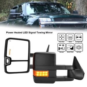 1 Pair Car Power Heated Led Signal Towing Mirrors For 2003 2006 Chevy Silverado