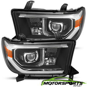 For 2007 2013 Toyota Tundra 08 17 Sequoia Black Led Projector Headlights Pair