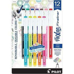 11452 Pilot Frixion Fineliner Marker Pen Erasable Ink Pack Of 12 Colors