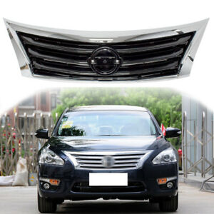 For 2013 15 Nissan Altima Front Bumper Grille Grill Chrome Shell W Black Insert