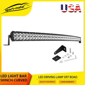 50inch Led Work Light Bar Curved Combo Offroad 4x4wd Suv Utv Boat Driving Truck