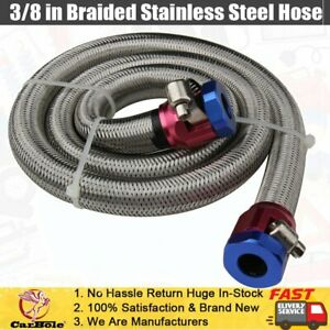 Universal 3 8 Hose 3ft Braided Stainless Steel Flex Fuel Line Hose Clamps Kit