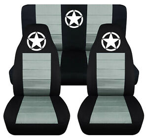 Front Rear Car Seat Covers Blk Steel Gray W Army Star Fits Wrangler Yj Tj Lj