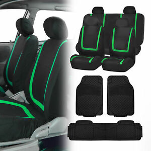 Black Green Car Seat Covers With Black Heavy Duty Mats For Auto Car Suv