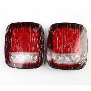 2pcs Red White 16 Led Stud Mount Taillight Stop Turn Brake Lamps For Truck Bus