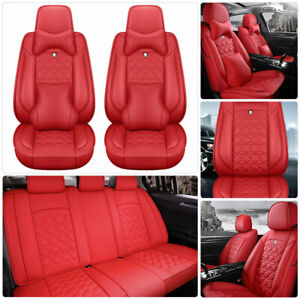 Us Full Red Top Leather Car Seat Cover Protectors Universal 5 seat Pro Cushions