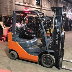 2015 Toyota 5000lbs Lp Gas Used Forklift W triple Mast Sideshift