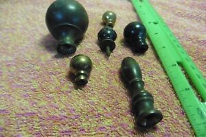 Vintage Lot Of 6 Finials Copper Brass Steel Working Lamps Curtain Rods