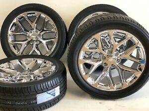 22 X9 Oem Factory Chrome Chevy Silverado Gmc Sierra 1500 Wheels Rims Tires Pack