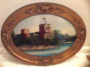 Antique Reverse Painting Convex Glass Spanish Fortress Ironclad Oval Frame