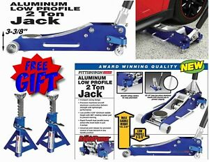 2 Ton Aluminum Low Profile Lightweight Hydraulic Floor Jack Auto W Free Stands