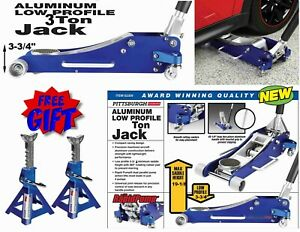 3 Ton Aluminum Low Profile Lightweight Hydraulic Floor Jack Auto W Free Stands