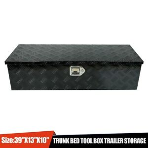 39 X13 X10 Black Aluminum Pickup Truck Trunk Bed Tool Box Underbody Storage Lock