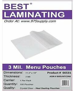Best Laminating 3mil Menu Thermal Laminating Pouches 12 X 18 500 Pouches