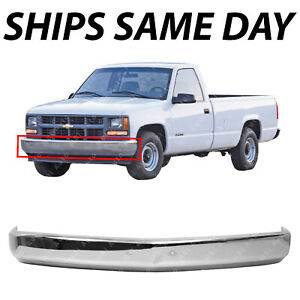 New Chrome Steel Front Bumper Face Bar For 1988 2002 Chevy Gmc K1500 C1500 88 02