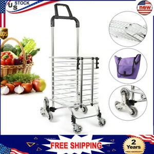 Stainless Steel Trolley 35l Foldable Shopping Cart Oxford Cloth Bag Labor saving