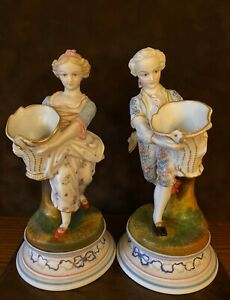 Antique French Limoges Pair Of Bisque Figurines Of Kids With Basket