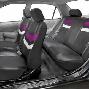 Universal Fit Pu Leather Seat Covers Full Set For Suv Car Van Auto Purple Black