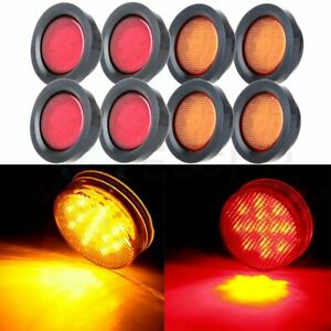 8x 2 5 Inch Turn Tail Signal Lights Round 13 Led Side Marker Trailer Truck Light