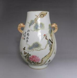 Rare Antique Chinese Porcelain Pine And Crane Famille Rose Vase Tang Jitong Mark