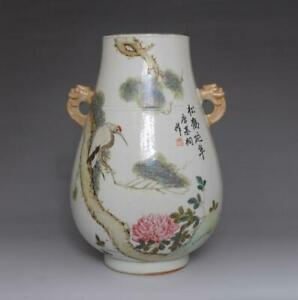 Antique Chinese Porcelain Pine And Crane Famille Rose Vase Tang Jitong Marked