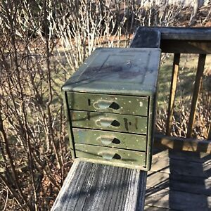 Vintage 4 Drawer Industrial Metal Small Parts Drill Bits Storage Bin Box Cabinet