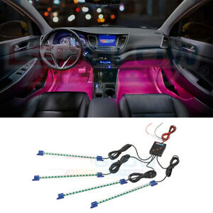 Ledglow 4pc Pink Led Car Truck Interior Underdash Lights Accent Neon Kit