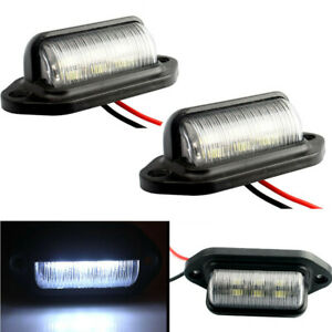 2 Pcs Universal 6 Led License Plate Tag Lights Lamps For Truck Suv Trailer Van