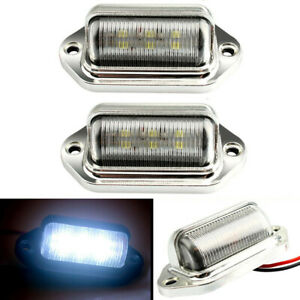 2x Chrome 6 Led License Plate Tag Light Lamp For Truck Suv Trailer Van Universal