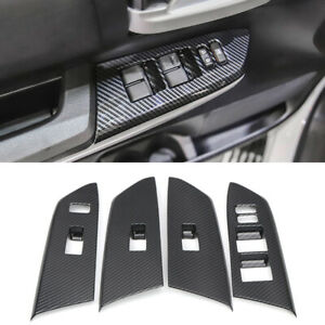 Abs Carbon Interior Door Window Lift Cover Trim 4pcs For Toyota Tundra 2014 2019