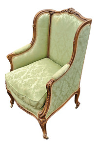 Antique 19thc French Green Upholstered Carved Walnut Armchair Bergere Club Chair