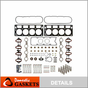 Head Gasket Set Head Bolts Lifters Fit 01 03 Cadillac Gmc Hummer Chevrolet 6 0