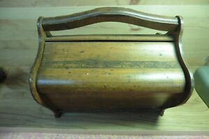 Antique Sewing Singer Basket Box Solid Wood 2 Doors Hand Carved Hand Made