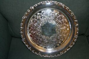 Vintage Wm A Rogers Old English Reproduction 13 Silver Plate Serving Tray 6257
