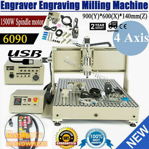 Usb 4 Axis Cnc Router 6090 Engraver Wood Drill milling Machine 1 5kw handwheel