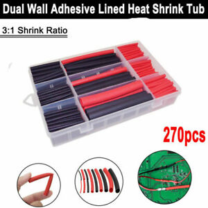 270 Pcs Heat Shrink Wire Wrap Assortment Set Tubing Electrical Connection Cable