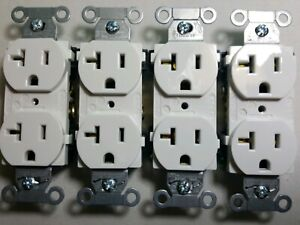 Hubbell Duplex Receptacle White Outlets 20a 125v Set Of 4