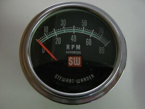 Stewart Warner Greenline Tachometer And Sending Unit 8 Cylinder 6v 12v 60s 70 s