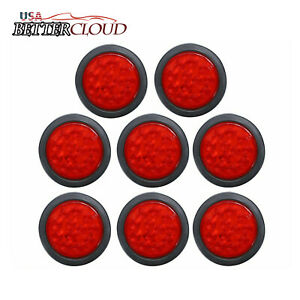 8x 4 Round 12 Led Trailer Stop Turn Tail Light Brake Mount Truck W grommet Red