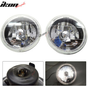 7 Inch Round H4 Headlight Lamp With Halo Halogen Bulb Clear Lens Blue City Light