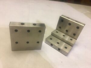 Set Of Two Precision Ground 3x3x3 Tapped Angle Plates Unbranded Free Shipping