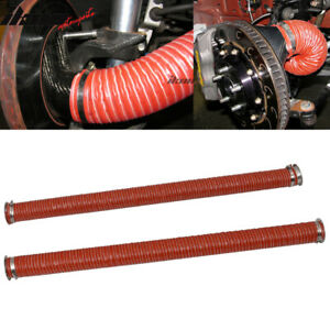 Universal Brake Cooling Dual Layer Insulation Hose W Flange 2 5 40 Inch 2pc