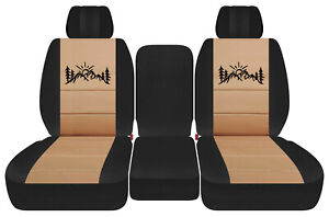Front Truck Car Seat Covers Blk Tan W Mountain Fits Dodge Ram11 18 1500 2500