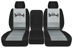 Front Truck Car Seat Covers Blk Silver W Mountain Fits Dodge Ram11 18 1500 2500